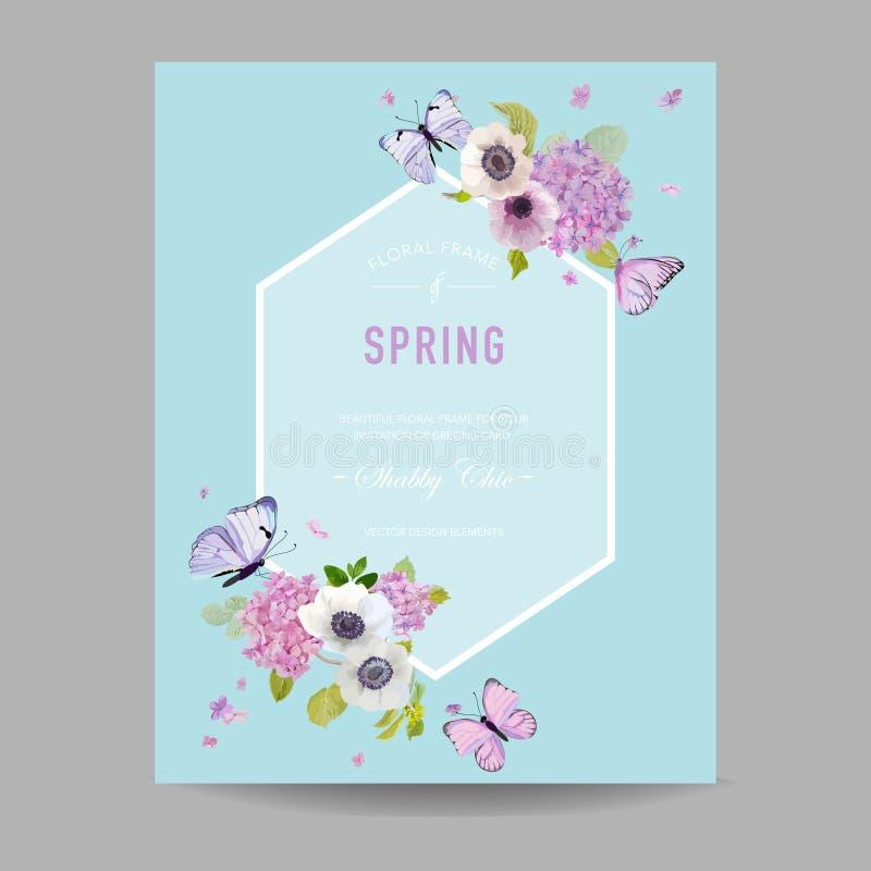Hochzeits-Einladungs-Babyparty-Rahmen-Schablone Botanische Karte mit Hortensie-Blumen und Schmetterlingen Gruß der Blumenpostkart vektor abbildung