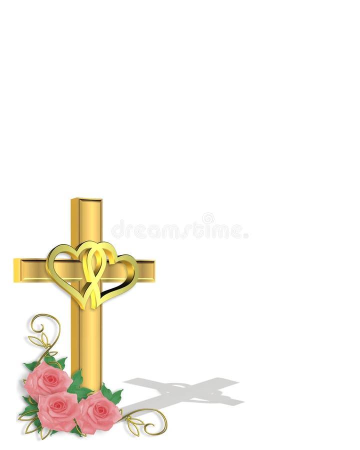 Hochzeits-Einladungs-Christ-Kreuz lizenzfreie abbildung