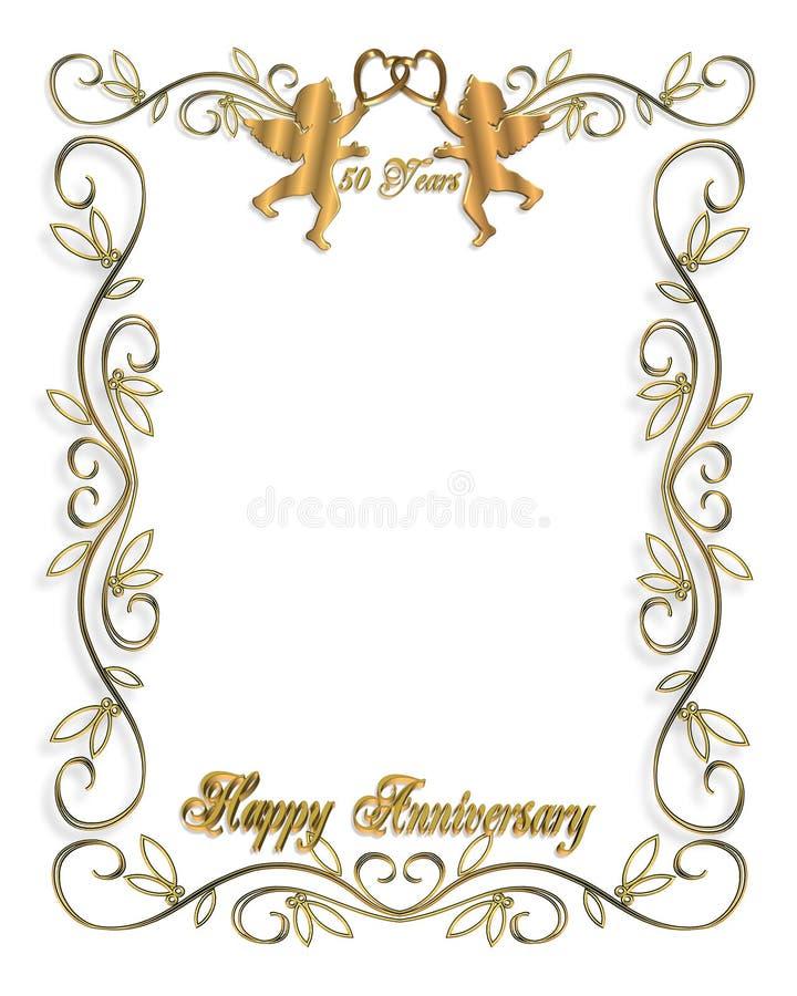 Hochzeits-Einladungs-Gold 50. lizenzfreie abbildung