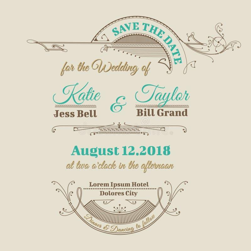 Hochzeits-Einladungs-Karte vektor abbildung