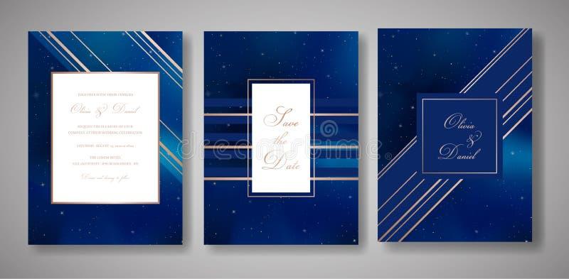 Hochzeits-Einladungs-Karten-Satz des sternenklaren nächtlichen Himmels sparen modischer, das Datum Celestial Template der Galaxie vektor abbildung