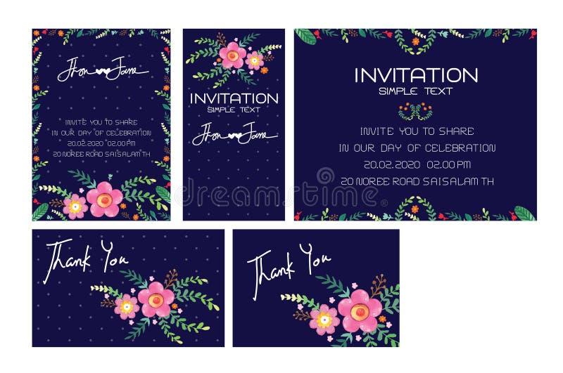 Hochzeits-Einladungs-Karten-Satz-Vektor stock abbildung
