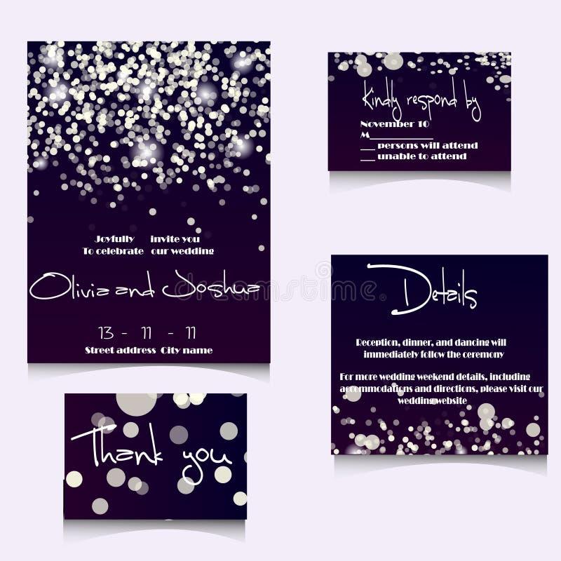 Hochzeits-Einladungs-Karten-Schablone eingestellt mit weichen Lichtern und lizenzfreies stockbild