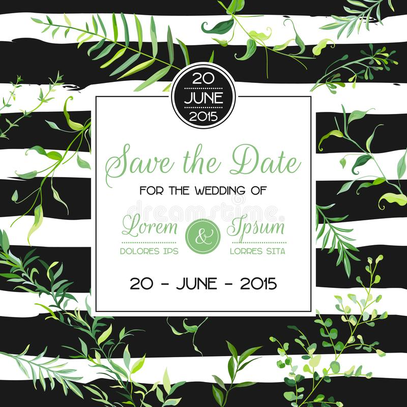 Hochzeits-Einladungs-oder Glückwunsch-Blumenkarten-Schablone mit tropischen Blättern Speichern Sie den Datums-blühenden Frühlings lizenzfreie abbildung