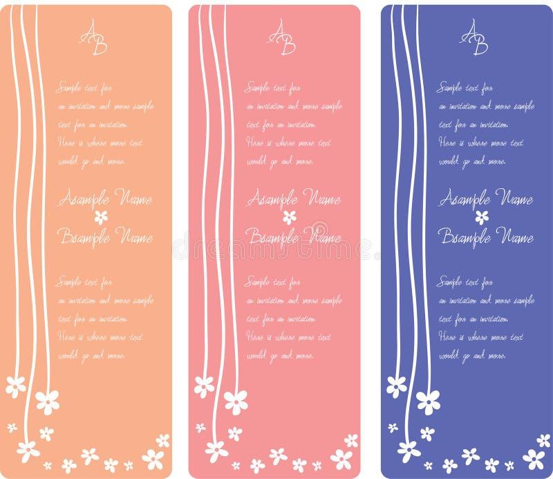 Hochzeits-Einladungs-Panels lizenzfreie abbildung