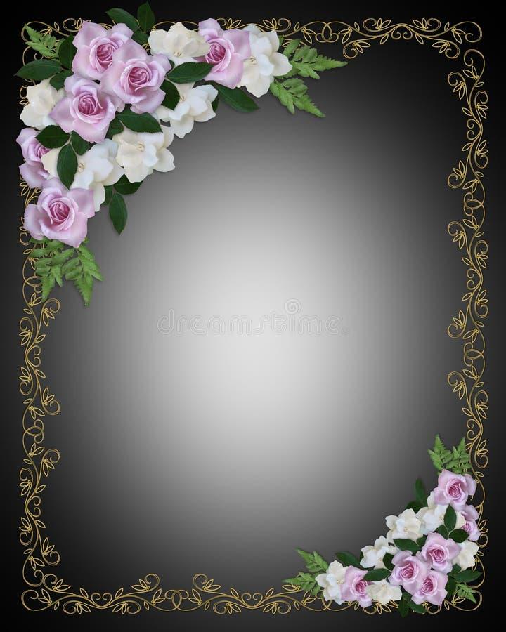 Hochzeits-Einladungs-Rand auf Schwarzem vektor abbildung