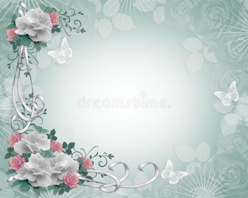 Hochzeits-Einladungs-Rand-Rosen stock abbildung