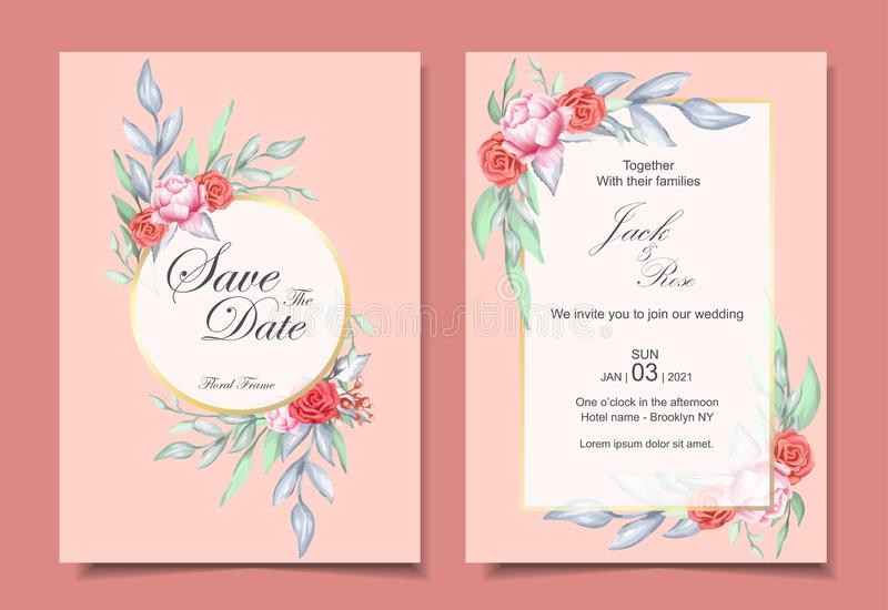 Hochzeits-Einladungs-Satz der Aquarell-Blumenverzierung und des goldenen Rahmens mit elegantem Farbkonzept des Entwurfes Rosen un vektor abbildung