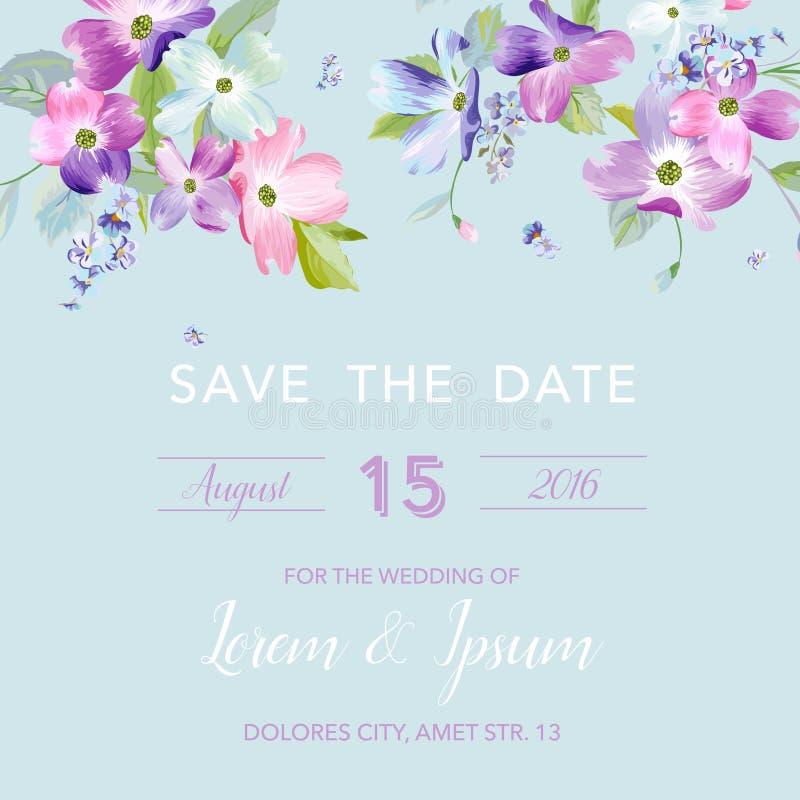 Hochzeits-Einladungs-Schablone mit Frühlings-Hartriegel-Blumen Romantische Blumengruß-Karte für Feier Aquarell botanisch vektor abbildung