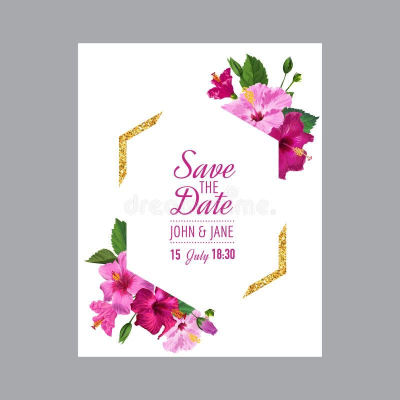 Hochzeits-Einladungs-Schablone Mit Hibiscus-Blumen Vektor Abbildung ...