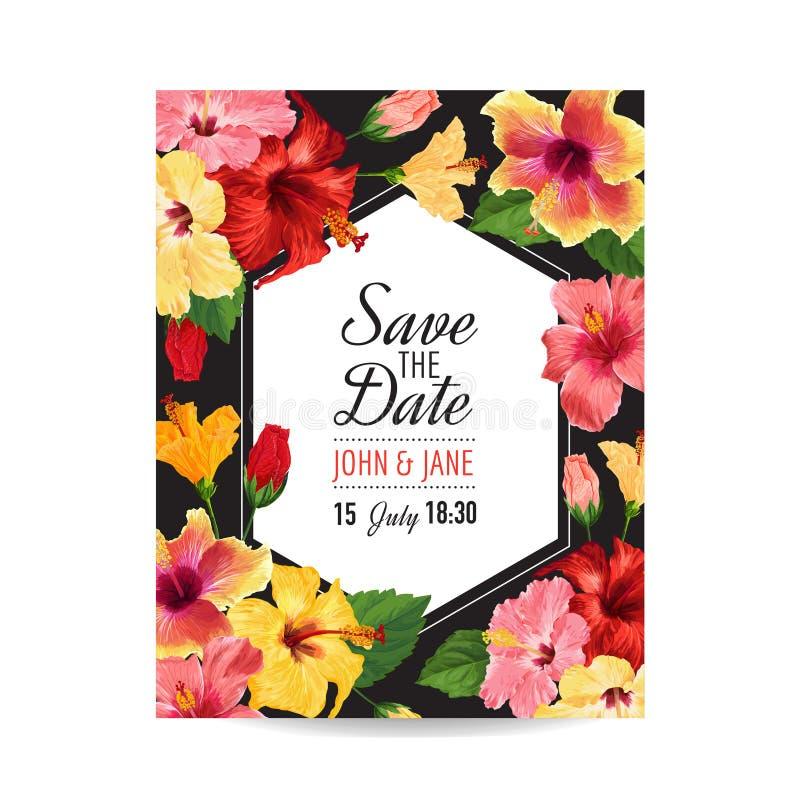 Hochzeits-Einladungs-Schablone Mit Roten Hibiscus-Blumen Speichern ...