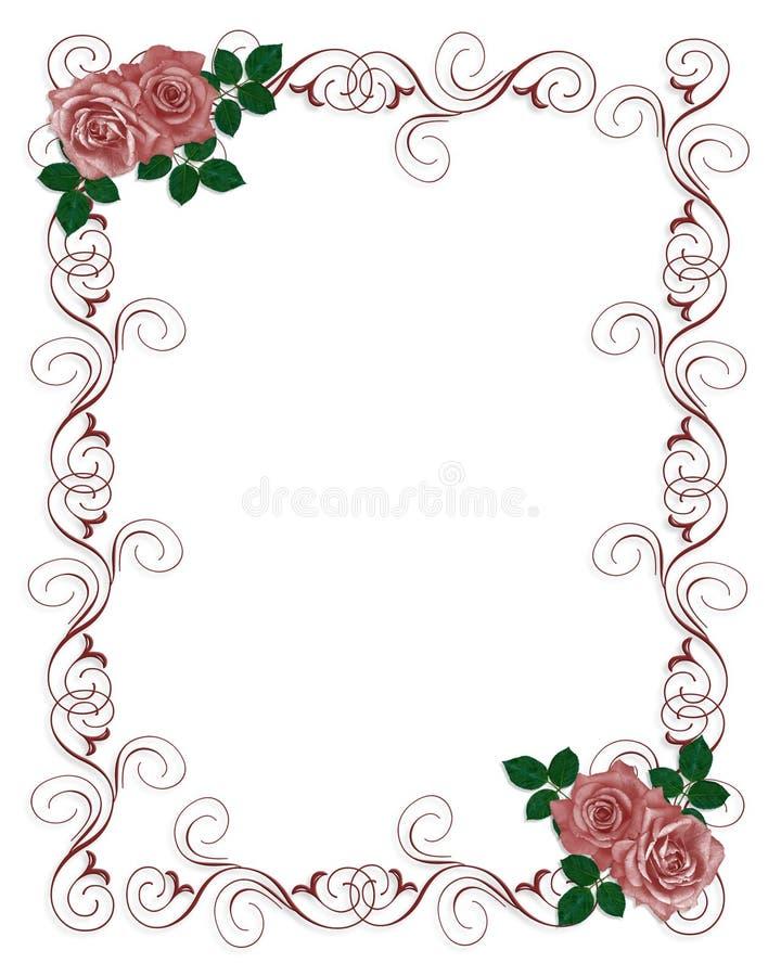 Hochzeits-Einladungs-Schablonen-Rot-Rosen Stock Abbildung ...