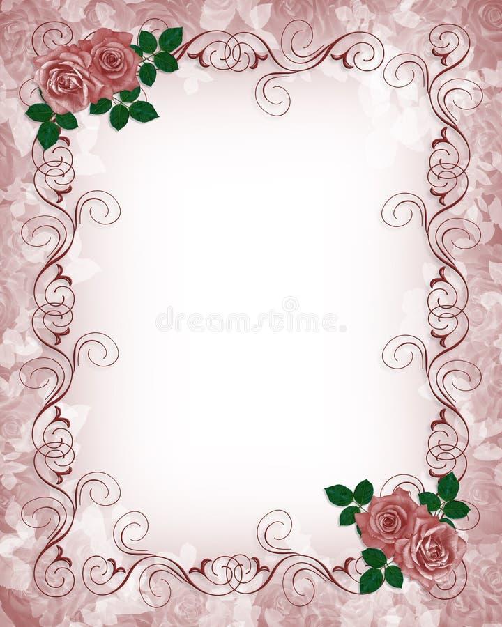 Hochzeits-Einladungs-Schablonen-Rot-Rosen vektor abbildung