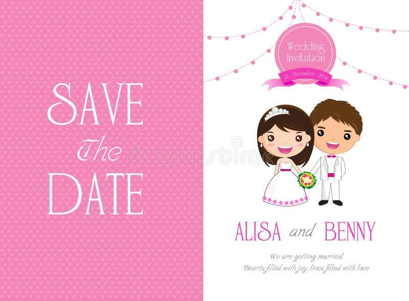 Hochzeits-Einladungs-Schablonenkarte Karikatur lizenzfreie abbildung
