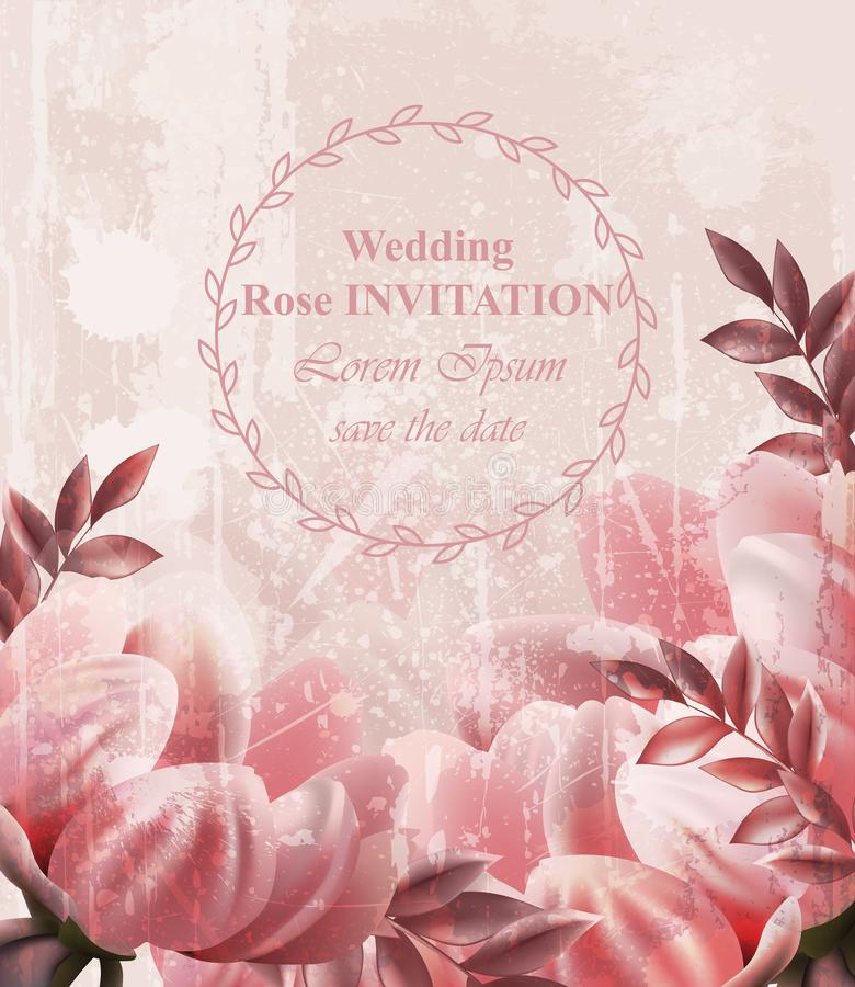 Hochzeits-Einladungs-Weinlese blüht Vektor Tapetenblumendekorschönheitsfrühlings-Sommerdekors vektor abbildung