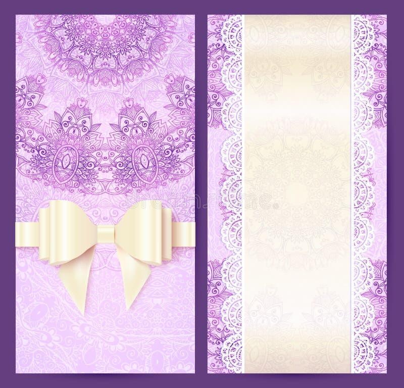 Hochzeits-Einladungsschablone der purpurroten Weinlese Spitzen- vektor abbildung
