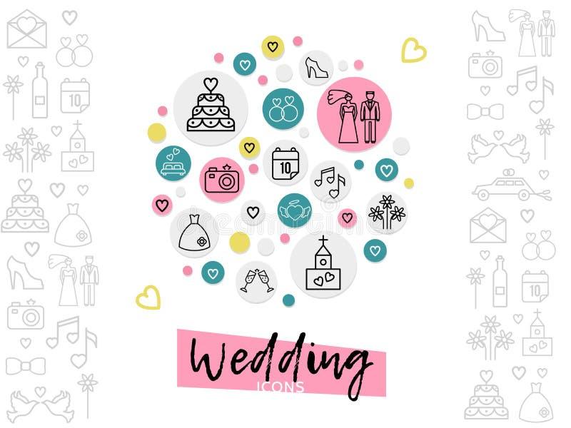 Hochzeits-Linie Ikonen-Konzept lizenzfreie abbildung