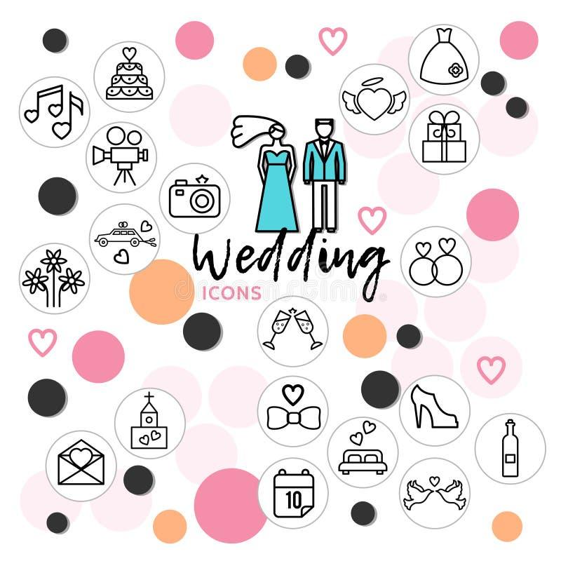 Hochzeits-Linie Ikonen-Sammlung stock abbildung