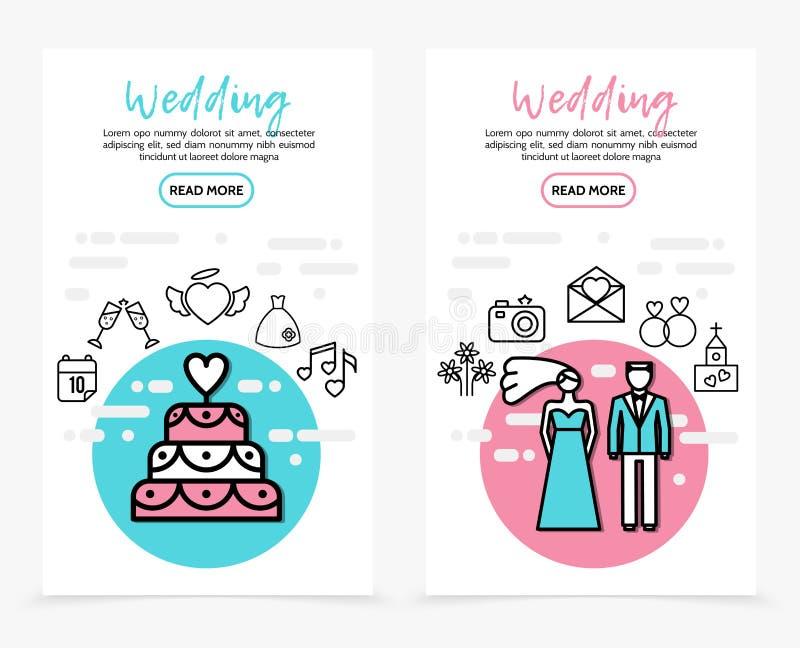 Hochzeits-Linie Ikonen-Vertikalen-Fahnen lizenzfreie abbildung