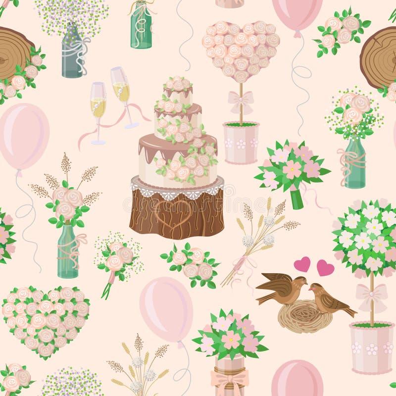 Hochzeits-Muster in der rustikalen Art lizenzfreie abbildung