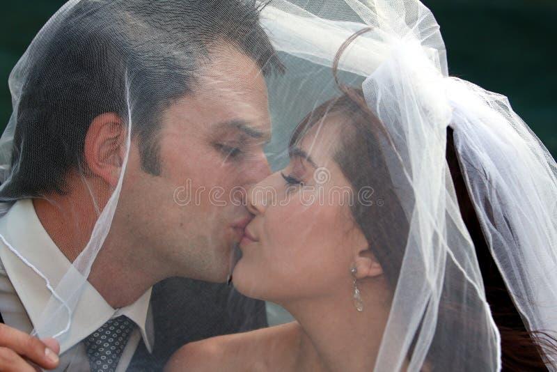 Hochzeits-Paar-Küssen lizenzfreie stockfotos