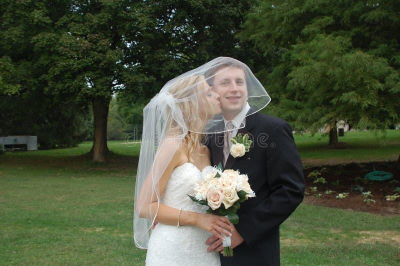 Hochzeits-Paar-Küssen stockbilder