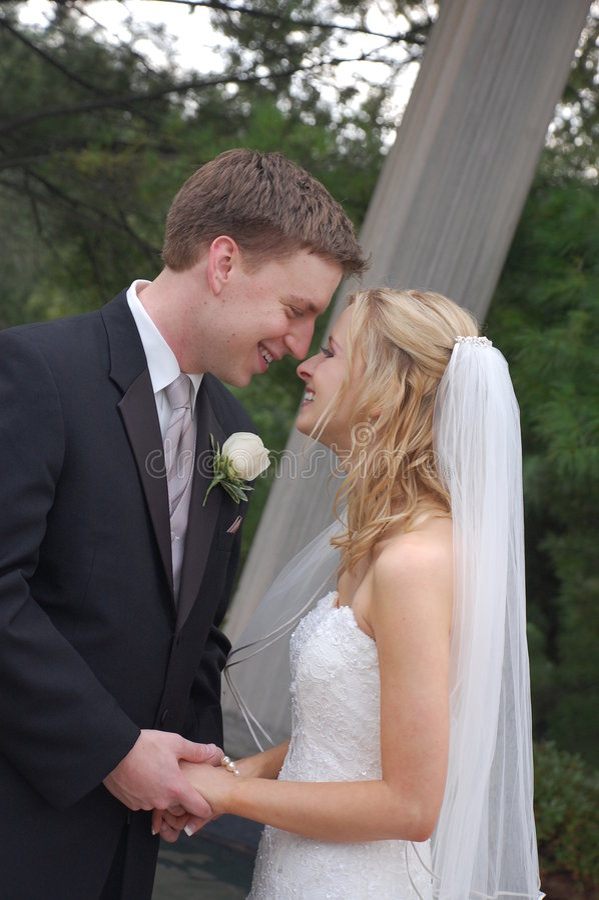 Hochzeits-Paare im Park stockfoto