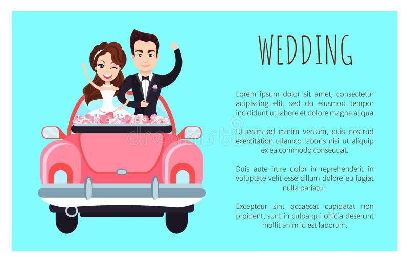 Hochzeits-Plakat mit dem glücklichen Paar, das jeder grüßt stock abbildung