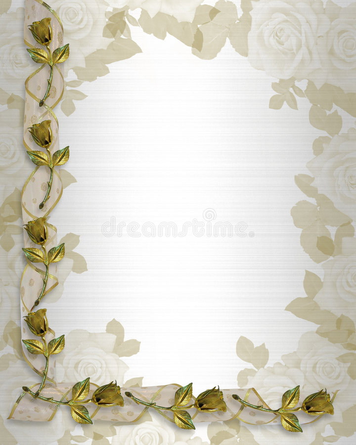 Hochzeits-Rand-Goldrosen und -farbbänder lizenzfreie abbildung