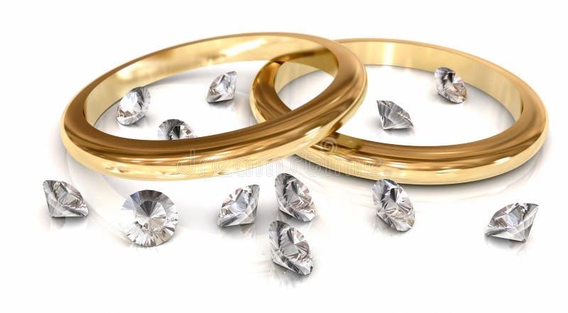 Hochzeits-Ringe u. Diamanten auf Weiß vektor abbildung