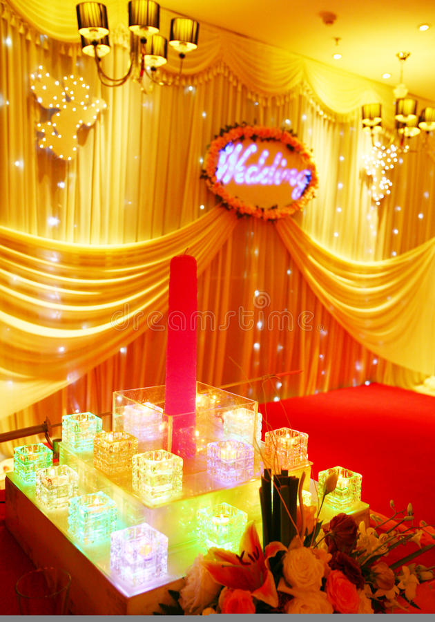 Hochzeits-Stufe-Dekoration stockfotos