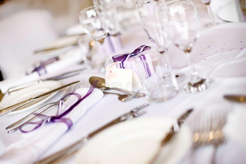 Hochzeits-Tabellen-Einstellung stockfotografie
