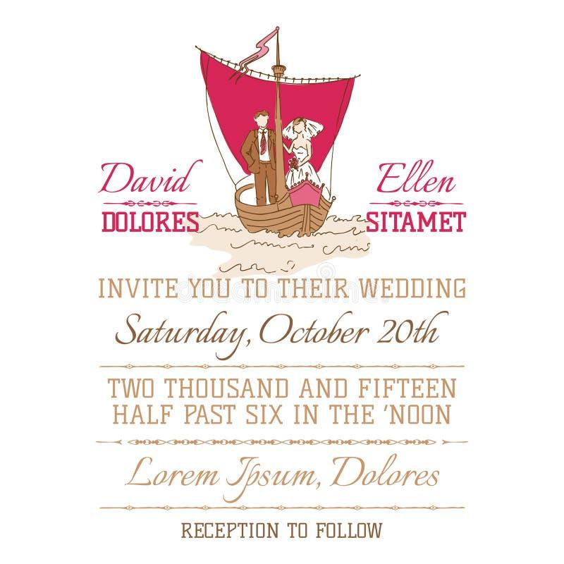 Hochzeits-Weinlese-Einladungs-Karte vektor abbildung