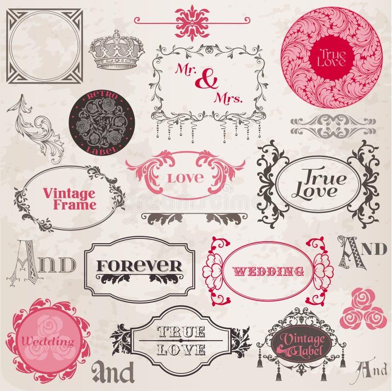 Hochzeits-Weinlese-Felder und Auslegung-Elemente lizenzfreie abbildung