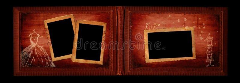 Hochzeits-Weinlesealbumseite lizenzfreie stockfotografie