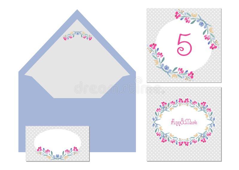 Hochzeitsaquarellkartenstapel vektor abbildung
