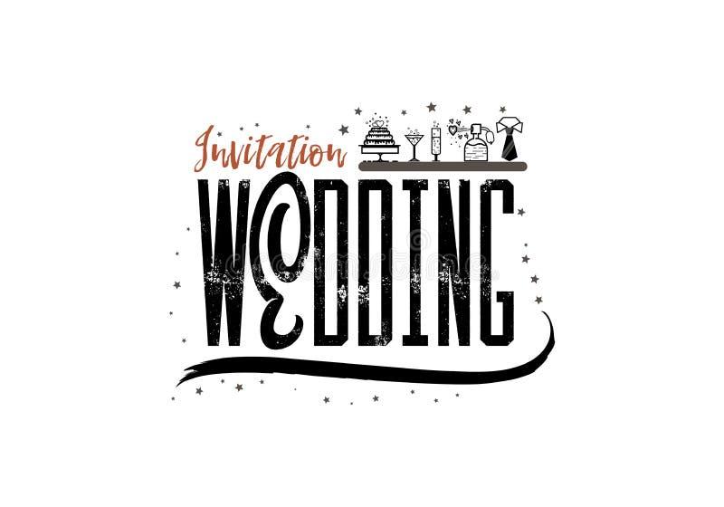 Hochzeitsausweis, Beschriftungseinladung Für die Organisation von Hochzeitsereignissen stock abbildung