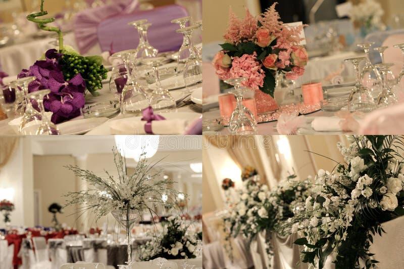 Hochzeitsballsaal, multicam, Gitter, Schirm spaltete sich in vier Teilen auf stockbild