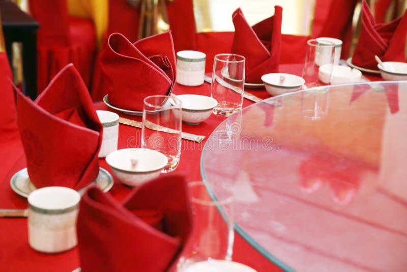 Hochzeitsbanketttabelleneinstellung. stockbild