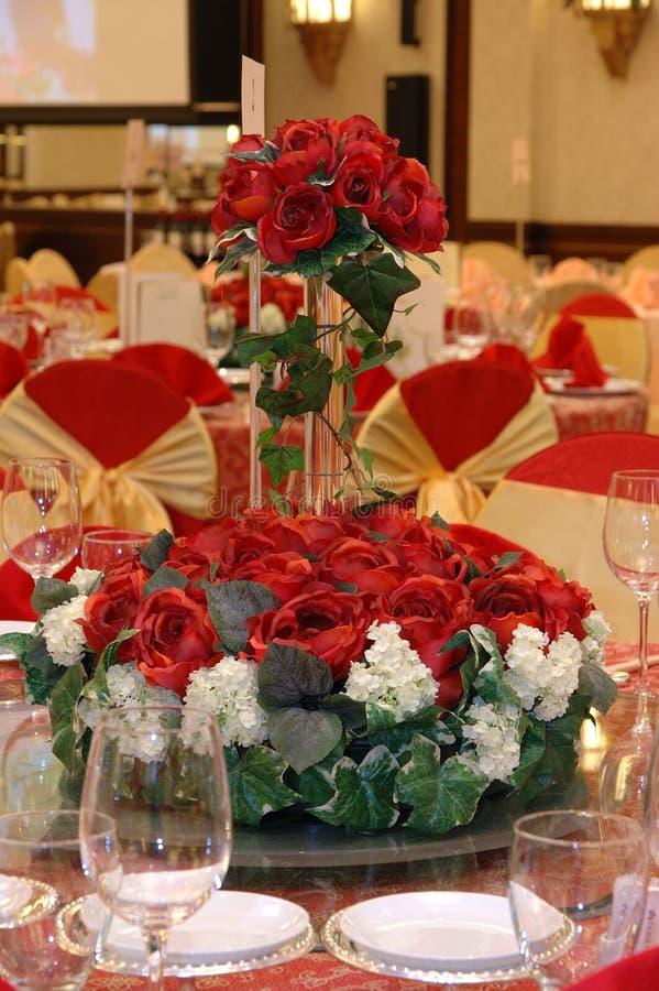 Hochzeitsbanketttabelleneinstellung stockfoto