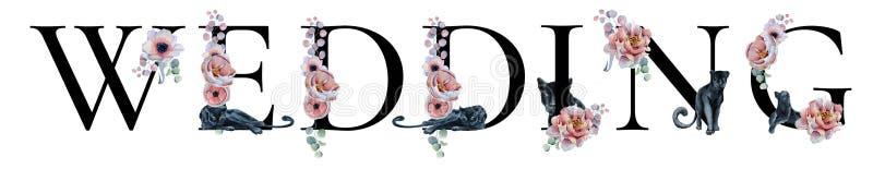 Hochzeitsbeschriftungszeichenaquarell-Wortdesign mit Blumensträußen und schwarze Panther übergeben gezogene Typografieaufschrift  stockbild