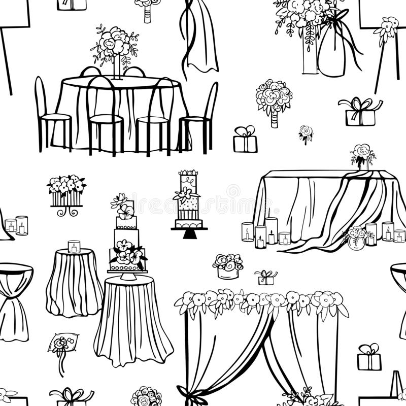 Hochzeitsblumen, Kuchen, Dekoration für Tabellen, Brautblumenstrauß stock abbildung