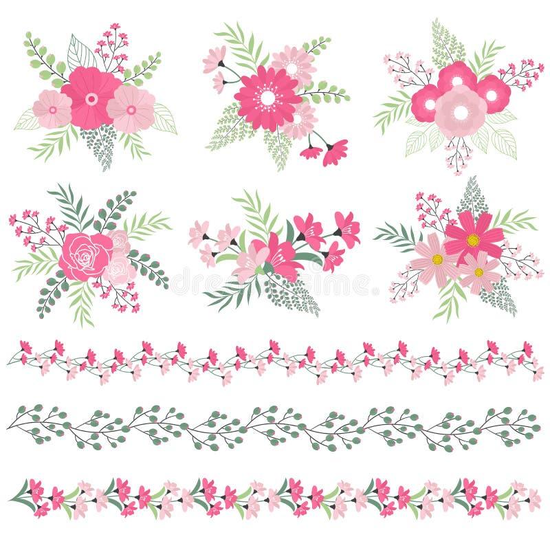 Hochzeitsblumensträuße und -grenzen lizenzfreie abbildung