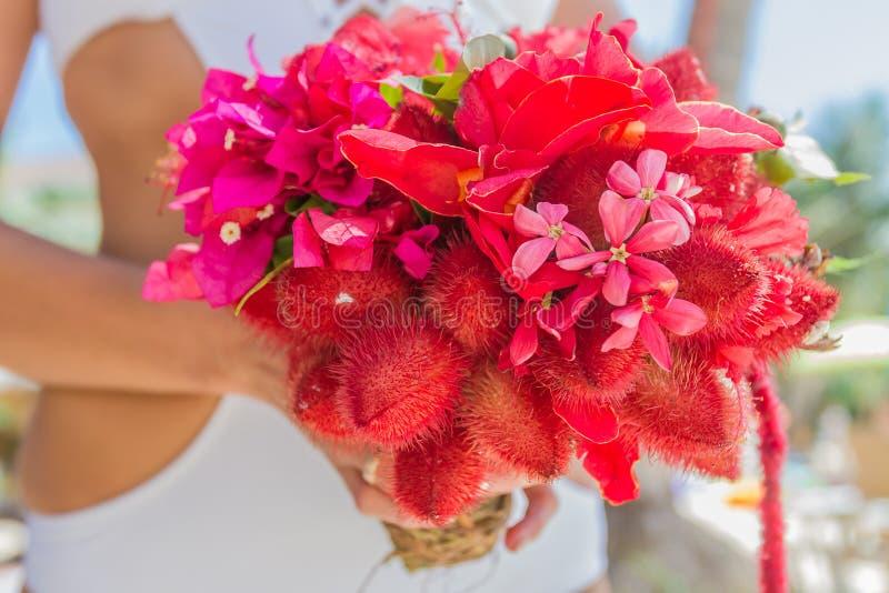 Hochzeitsblumenstrauß von den tropischen Blumen im Hans der Braut auf n stockfotografie