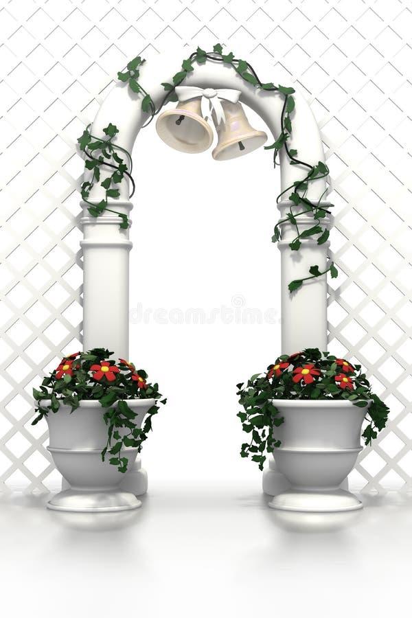 Hochzeitsbogen mit Glocken und Blumen lizenzfreie abbildung
