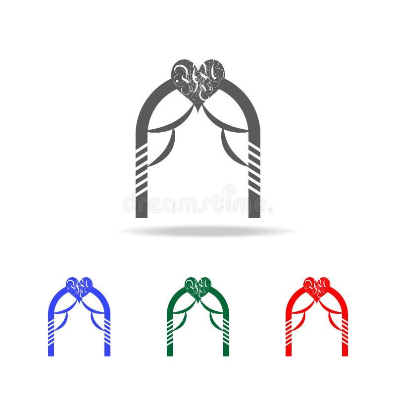 Hochzeitsbogenikone Elemente des Valentinsgrußes \ 'des s-Tages in den multi farbigen Ikonen Erstklassige Qualitätsgrafikdesignik vektor abbildung