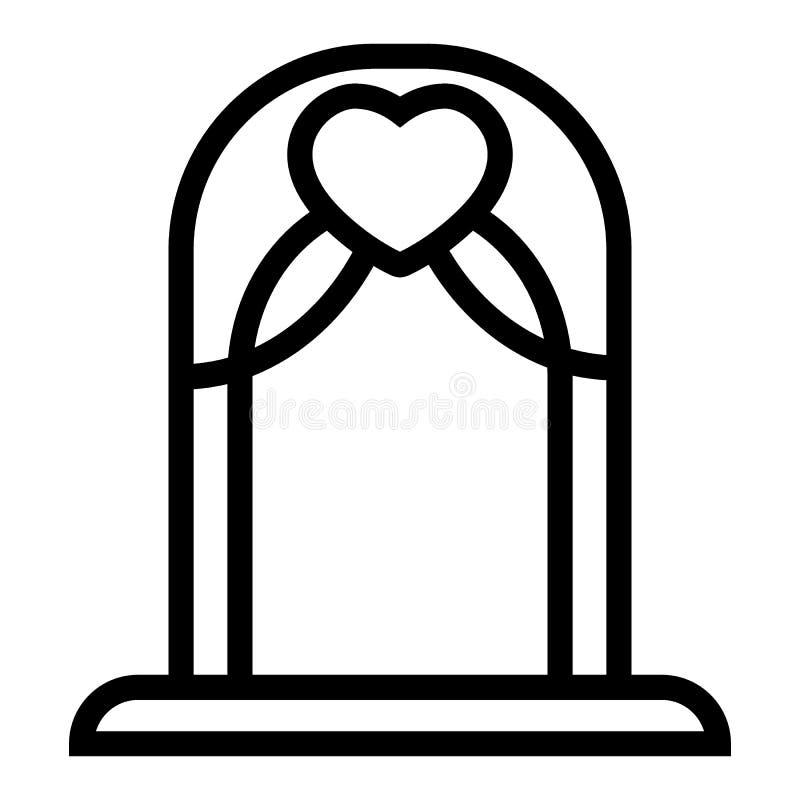 Hochzeitsbogenlinie Ikone Altarvektorillustration lokalisiert auf Weiß Bogenentwurfs-Artdesign, bestimmt für Netz und APP stock abbildung