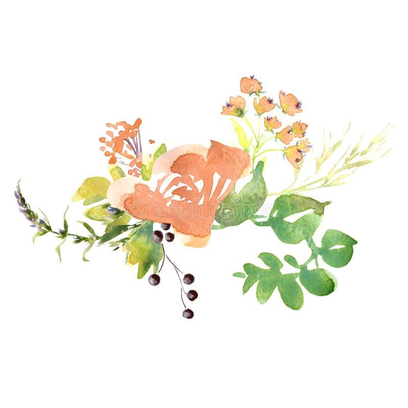 Hochzeitsbrot - romantisches rustikales Blumenstrauß Wasserfarben-, Lila- und Orangenblüten, handgezeichnet stockbilder