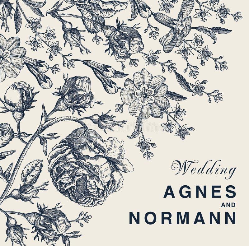 Hochzeitsdank und Rosenprimel-Karte Feld-Vektor Blumen der Einladung schöner realistischer, der victorian Illustration graviert lizenzfreie abbildung