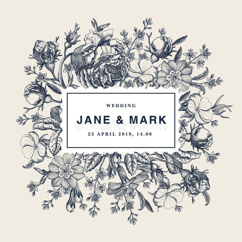 Hochzeitsdank und Rosenprimel-Karte Feld-Vektor Blumen der Einladung schöner realistischer, der victorian Illustration graviert vektor abbildung